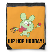 Green Easter Bunny with Basket of Eggs Drawstring Bag
