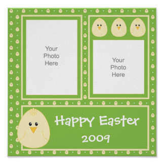 Green Easter Chick Scrapbook Page Poster