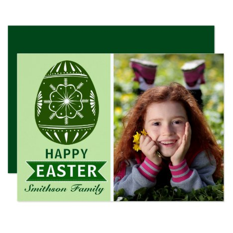Green Easter Egg Custom Photo Card