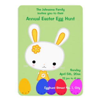 Green Easter Egg Hunt Invitations With Cute Bunny