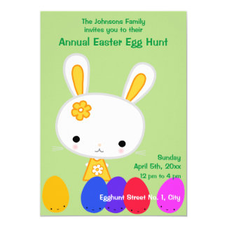 Green Easter Egg Hunt Invitations Yellow Bunny