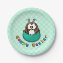 green Easter owl - paper plates