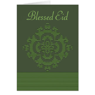 Green eastern ornament with stripe pattern card