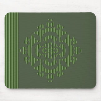Green eastern ornament with stripe pattern mousepad