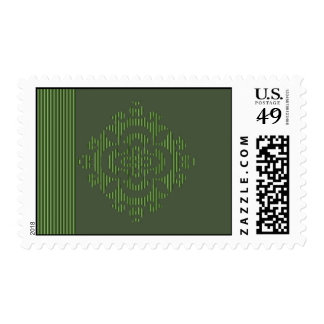 Green eastern ornament with stripe pattern postage