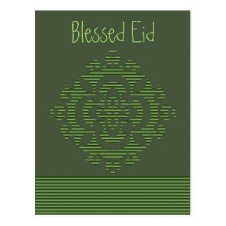 Green eastern ornament with stripe pattern postcard
