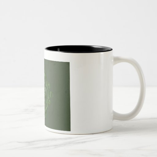 Green eastern ornament with stripe pattern Two-Tone coffee mug