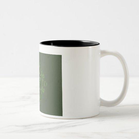 Green eastern ornament with stripe pattern Two-Tone coffee mug