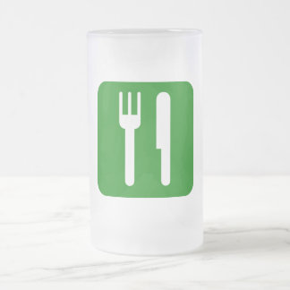 Green Eat Drink and Be Merry Icon Frosted Glass Beer Mug