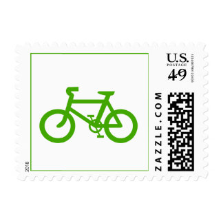 Green Eco Bicycle Postage Stamp