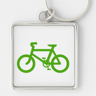 Green Eco Bicycle Silver-Colored Square Keychain