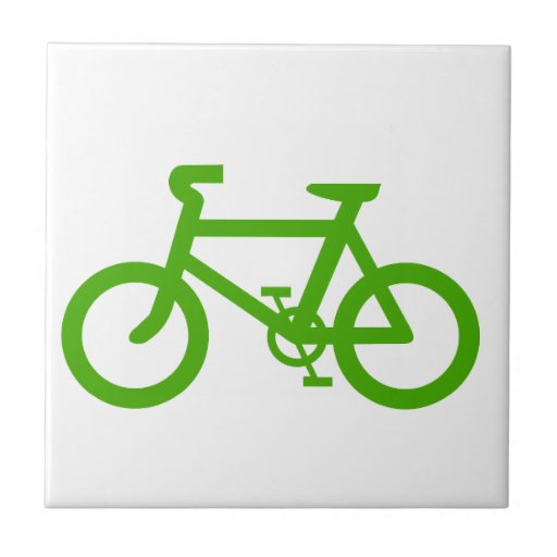 Green Eco Bicycle Small Square Tile