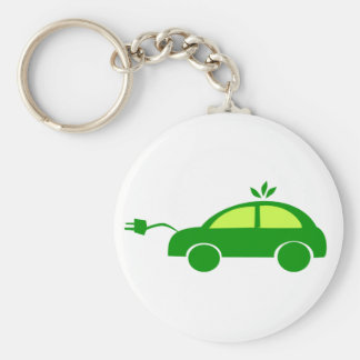 Green Eco Electric Car - Ecology, Enviroment Keychain