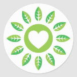 Green eco heart with leaves sticker