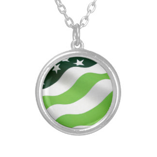 Green (ecology) flag round pendant necklace