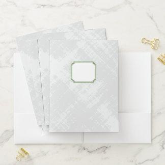 Green Edged Monogrammed Label on Textured Gray #3 Pocket Folder