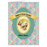 Green Egg and Chick Baby's First Easter Greeting Card
