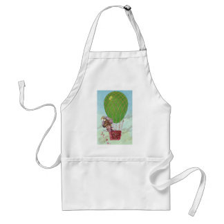 Green Egg Balloon and Lady in Gondola Vintage Adult Apron