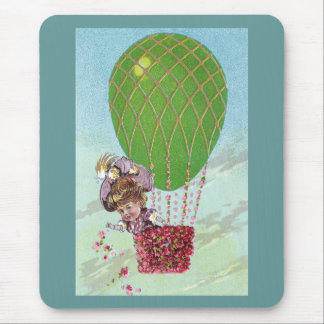 Green Egg Balloon and Lady in Gondola Vintage Mouse Pad