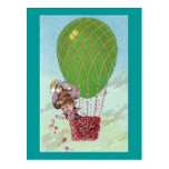 Green Egg Balloon and Lady in Gondola Vintage Postcards