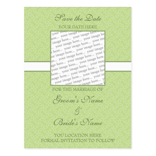 Green Eggshell Save the Date Postcard