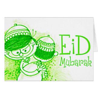 Green Eid Mubarak Sketch Greeting Cards