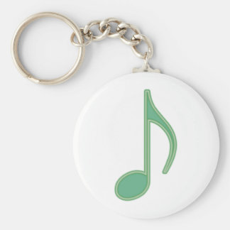 Green Eighth Note Key Chain