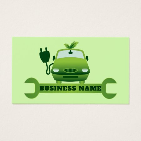 Green Electrical Auto Repair Mechanic Business Cards