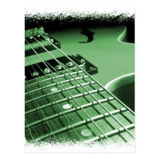 Green Electric Guitar Close-up Postcard