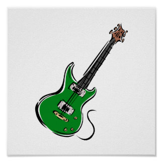 green electric guitar music graphic.png poster
