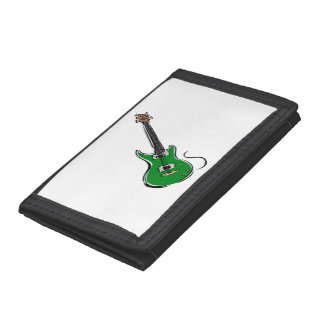 green electric guitar music graphic.png trifold wallet