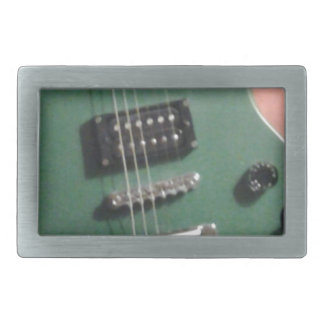 green electric guitar rectangular belt buckle