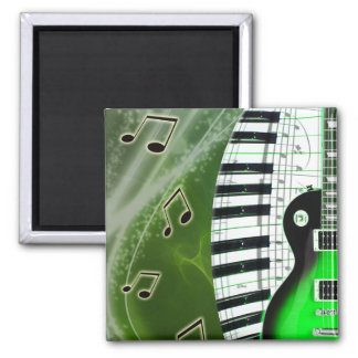Green electric guitar with keyboard 2 inch square magnet