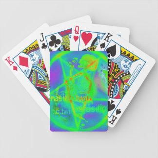 Green Electric Penatgram Playing Cards