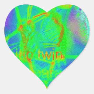 Green Electric Penatgram Heart Sticker