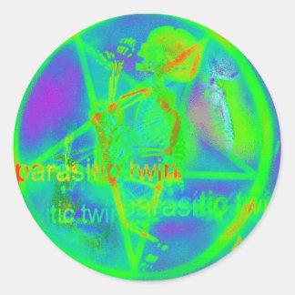 Green Electric Penatgram Classic Round Sticker
