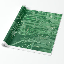 green electronic circuit board computer pattern wrapping paper