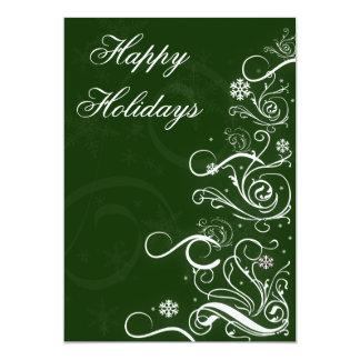 "green elegant Business Holiday Greetings 5"" X 7"" Invitation Card"