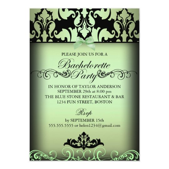 Green Elegant Damask Bachelorette Party Invite