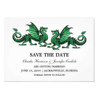 Green Elegant Dragons Save the Date Invite