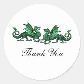 Green Elegant Dragons Thank You Stickers