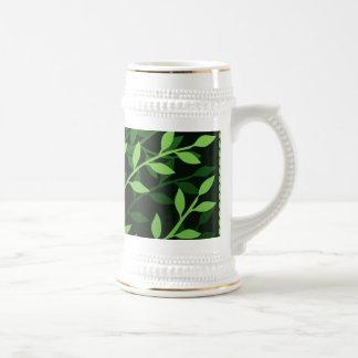 Green Elegant Leafy Branches Design Coffee Mugs