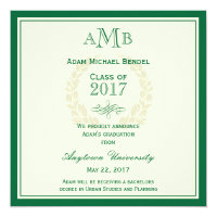 Green Elegant Monogram Graduation Announcement