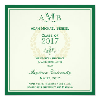 Green Elegant Monogram Graduation Announcement