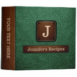 Green Elegant Recipe Leather Look 3 Ring Binder