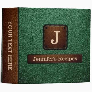 Green Elegant Recipe Leather Look 3 Ring Binder
