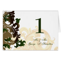 green Elegant table seating card