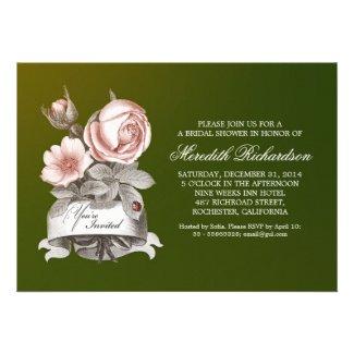 green elegant vintage bridal shower invitation