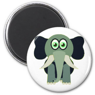 Green Elephant 2 Inch Round Magnet