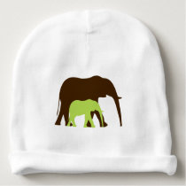 Green Elephant and Baby Baby Beanie